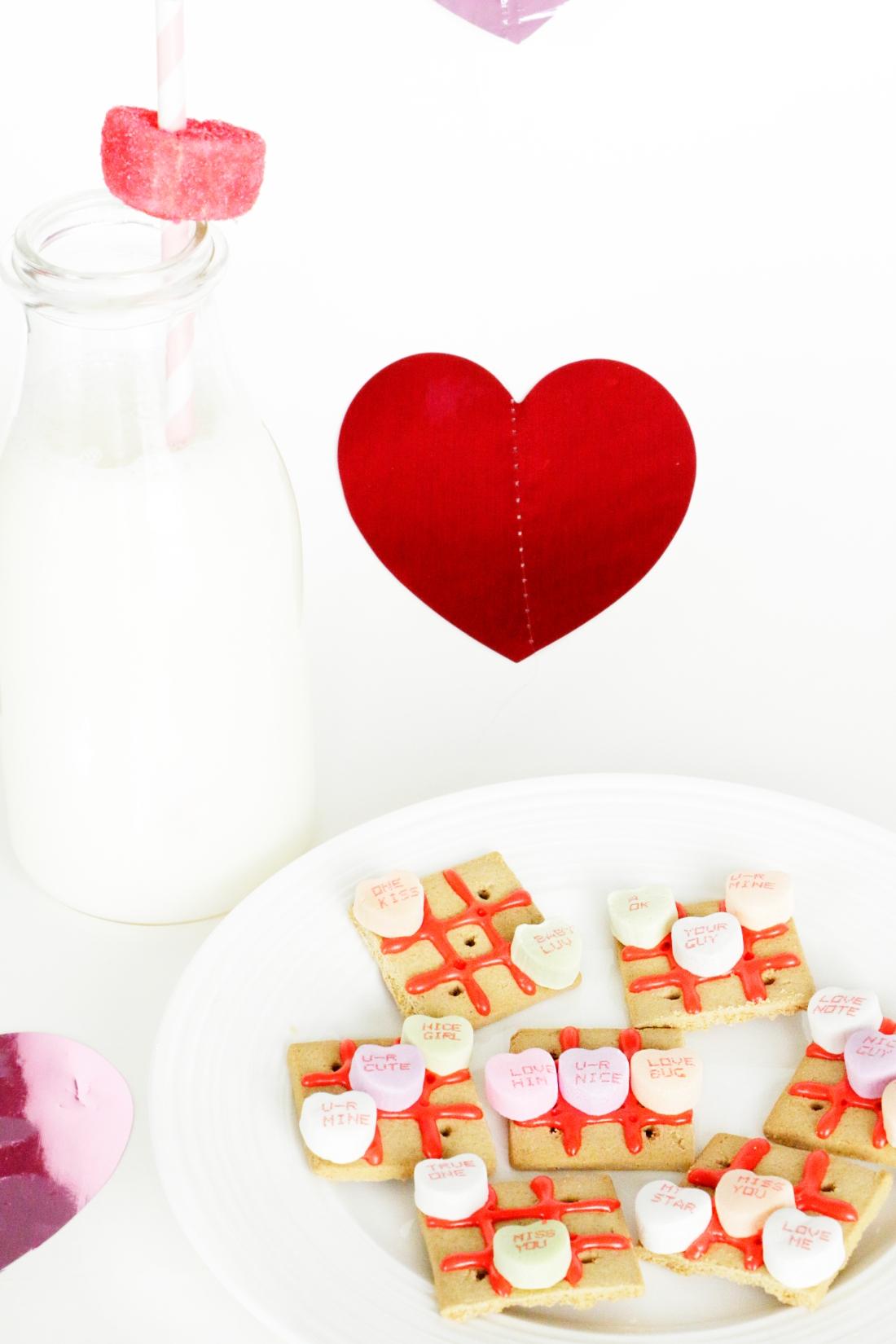 Conversation Heart Tic Tac Toe Valentine's Treat on theothersideofnat.com